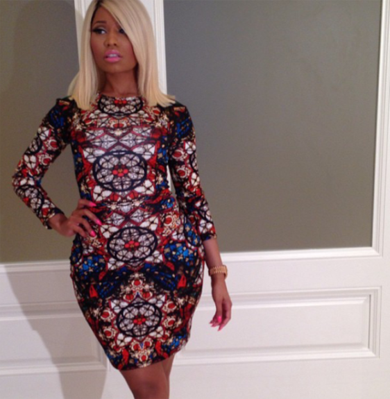 """Nicki Minaj headed out to be all in the """"Myx"""" in a stained multicolored Alexander McQueen pencil dress.<em>Photo</em>: Nick Minaj's Instagram"""