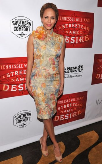 """Nicole Ari Parker wore a floral Chinese dress with a large flower pin at the shoulder for the opening night of """"A Streetcar Named Desire"""" after party"""