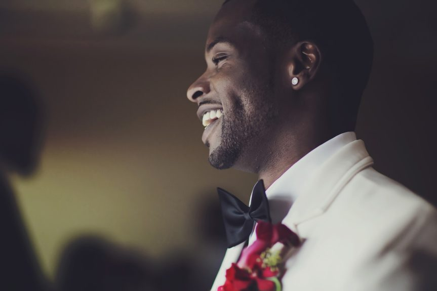 The Best Day of His Life: The groom is all smiles, ready to meet his bride at the altar