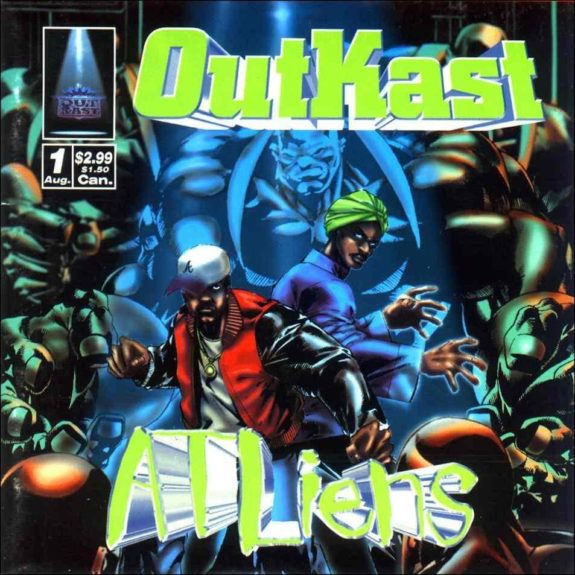 OutKast return in 1996 with <em>ATLiens</em>, classic for its comic-book-themed cover