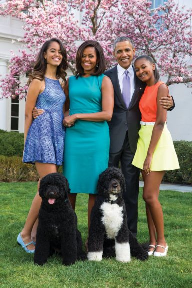 <p> The Obamas (along with First Pets, Bo and Sunny)</p>