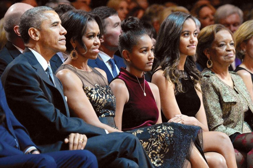 """<p> 2014: The First Family and """"First Grandma"""" attend a Christmas concert in Washington D.C.</p>"""