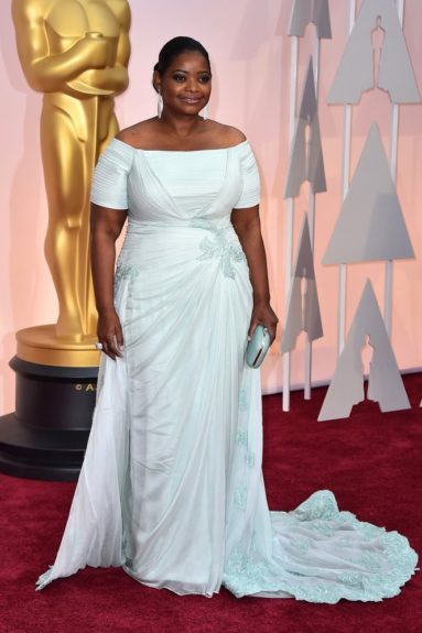 "Octavia Spencer: ""She played it safe in her 'go to' designer, Tadashi Shoji, but she's an Oscar winner so I would have liked to see her take a fashion risk. After all, they can't kick her out the club!"""