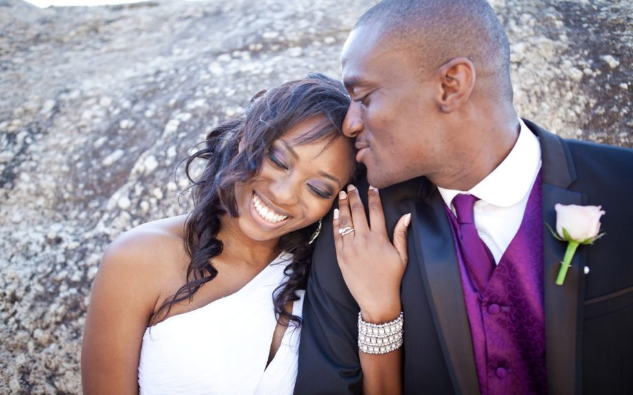 So in love! The couple Onyinye and Chima Gaiusand poses with a sigh of relief after the ceremony