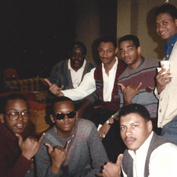 Stuart Scott (center) with fellow members of Alpha Phi Alpha Fraternity Incorporated