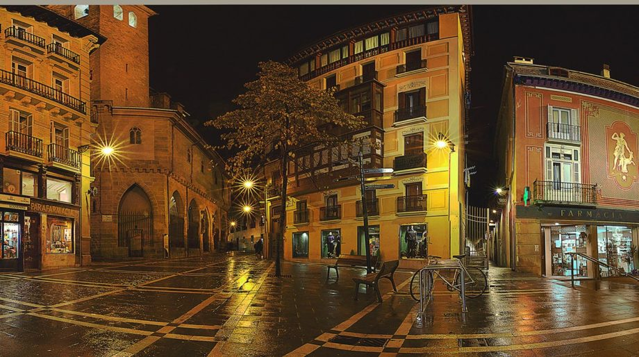 This charming street and small plaza is one of many in the northern Spanish city of Pamplona.