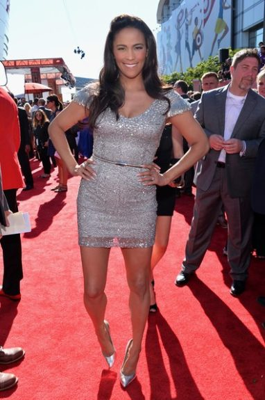 Paula Patton caught her balance for the photo in her silver shimmery cocktail dress