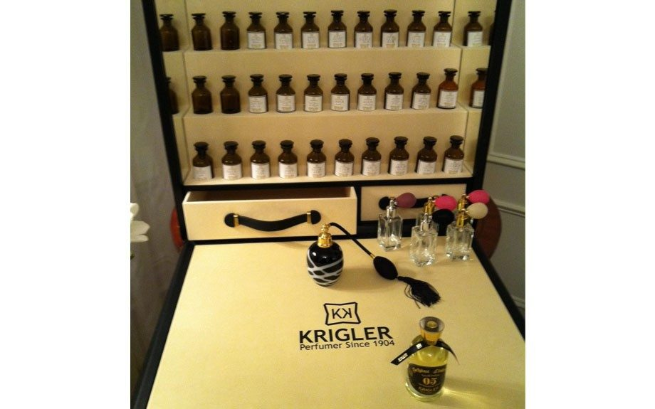 How chic is this customized Krigler Fragrance case that Ben Krigler travels with?