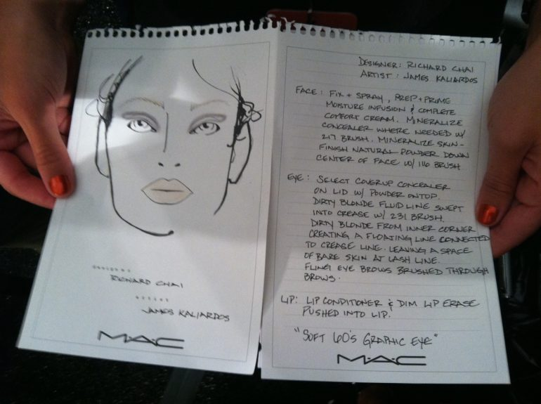 MAC Cosmetics face chart for Richard Chai focusing on barely-there makeup. Artists used concealer only where needed for a more natural look.  Photo Credit: Janell Hickman