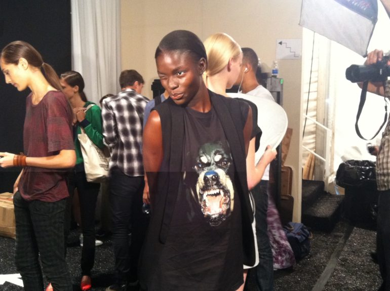 "Model Jeneil Williams shows us that her bark is not as bad as her bite in her coveted Givenchy ""Rottweiler"" t-shirt."