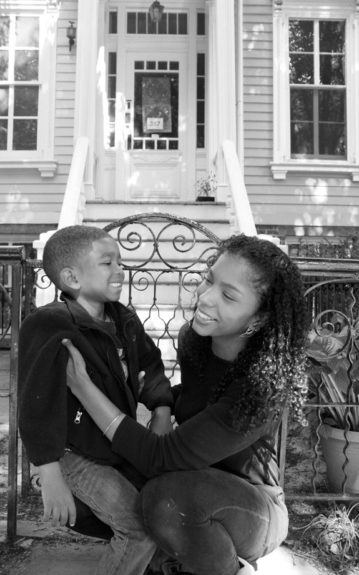 Rukia Lumumba of Brooklyn, NY with 4-year-old son Qadir