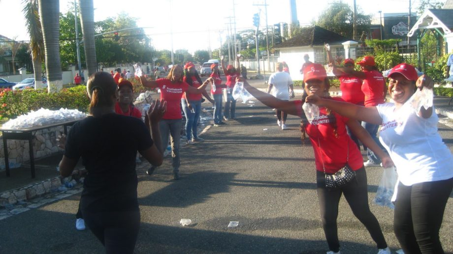 Cheering volunteers at a check point.