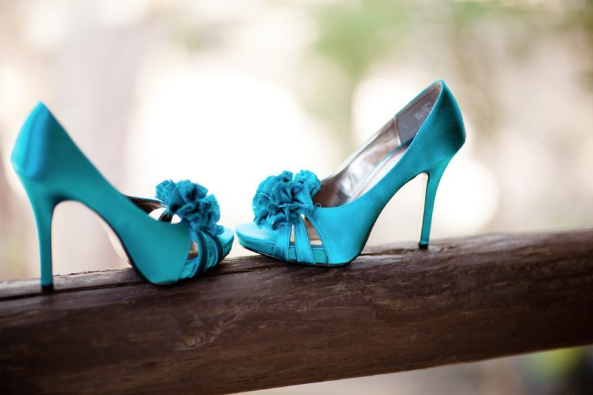 "Turquoise shoes for a pop of ""something blue"""