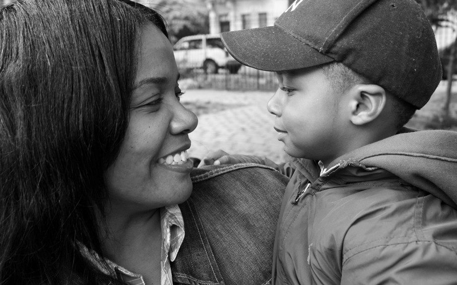 Former television producer Richelle Blanks of East Harlem hangs in the park with 2-year-old son Jahlil. Her 19 year old, Taven (not pictured), is finishing up the semester at Buffalo State University