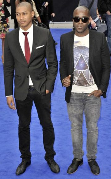 """Rickie Haywood-Williams and Melvin Odoom from the UK's KISS 100 Breakfast show stop by the """"Men In Black III"""" premiere in black oxfords and suit jackets"""