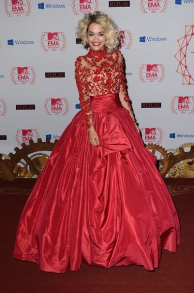 Rita Ora was dressed to turn heads in her Marchesa gown at the MTV Europe Music Awards. Photo Credit: WENN