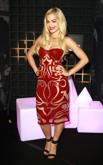 Rita Ora was on hand for the launch party of Sony Xperia Access in London, gorgeous in a Natalia Kaut Spring 2013 dress and black ankle strap sandals. Photo Credit: Getty