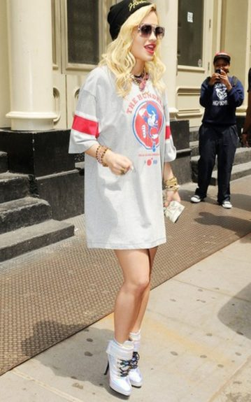 Rita dressed in a nightgown-ish dress by The Hundreds, a skull cap, and Blumarine boots