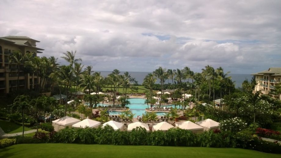 The view of the pools from the ocean-side Ritz-Carlton's foyer in Kapalua