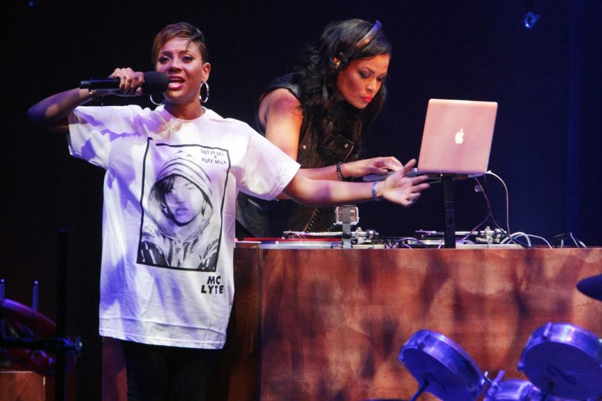 MC Lyte crams to understand, with Bev Bond at her back