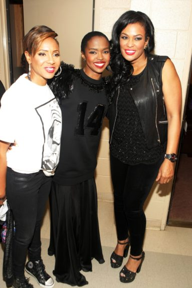 Lyte and Lauryn pose with DJ Bev Bond