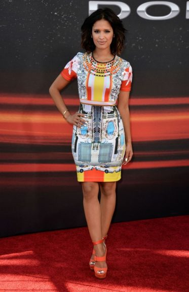 Rocsi Diaz got some camera time at the Hollywood premiere of the latest film in the <em>Fast & Furious</em> franchise in a Clover Canyon Miami Streets Dress and Jimmy Choo Leona Sandals. Photo Credit: Getty