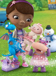 Doc McStuffins and her patients — furry animals in her dreamland