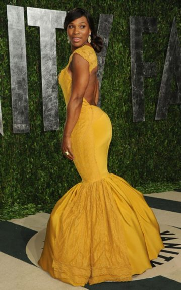 Serena Williams called attention to her derriere in a mustard Christiane King gown. Take that, Kim K and J-Lo (we've got to come up with a two syllable alias for Serena)