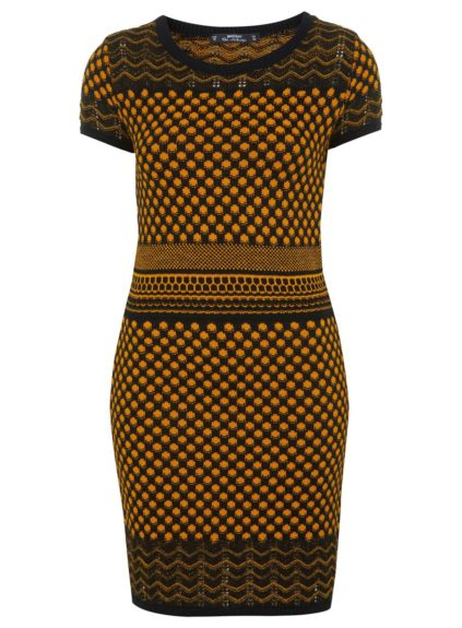"<strong>For the Sex Kitten: </strong><a href=""http://us.missselfridge.com/en/msus/product/apparel-893014/dresses-893027/petites-knitted-dress-2251816?bi=1&ps=40"" target=""_blank"">Printed Knit Dress </a>($68, missselfridge.com)"