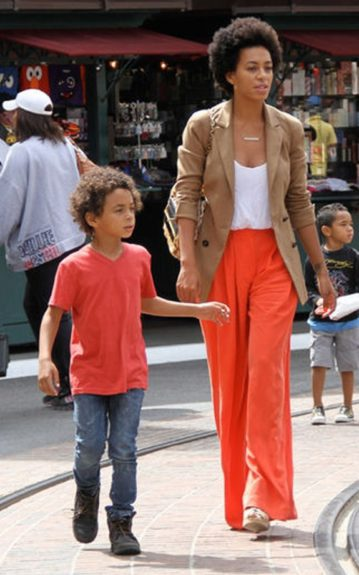 Matching Genes: Solange Knowles and son Julez both wear Orange at The Grove