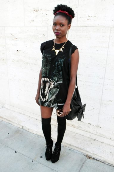 A dark twist on preppy is done so right on this young fashionista.
