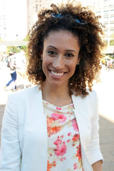 <em>Teen Vogue</em>'s Beauty and Health Director Elaine Welteroth looks fresh in a floral tank and white blazer. Forget that Labor Day rule.