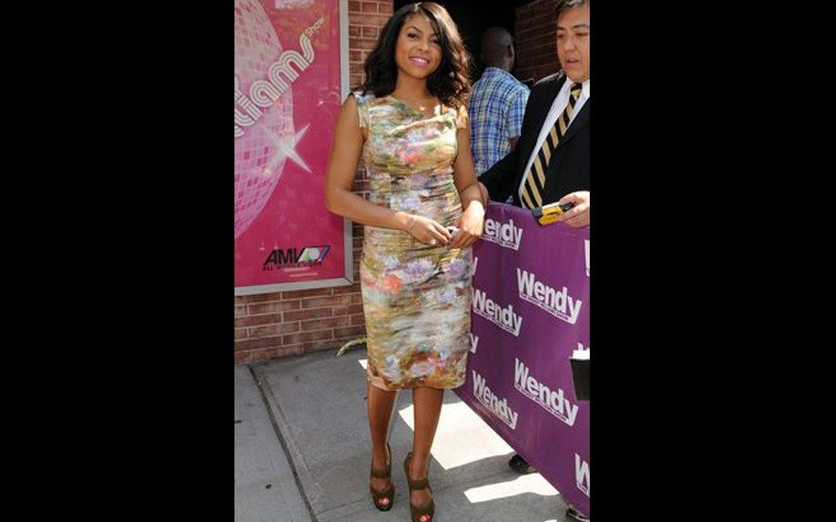 Taraji P. Henson was caught leaving the Wendy Williams Show in a spring appropriate Black Halo Printed sheath dress