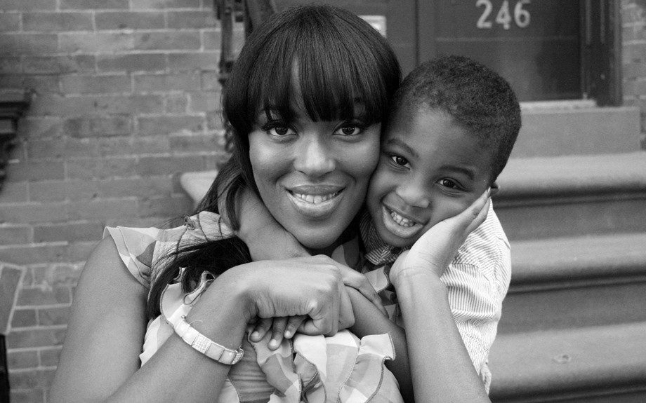 Model Tammy Brown of Boston, MA playing with her 3 year-old son Gregory
