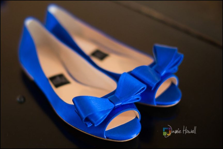Something Blue: Chauncey added her personal style with these standout royal blue bow flats.