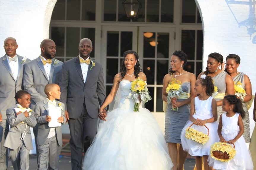 The wedding party helped celebrate Felicia and Chris's special day