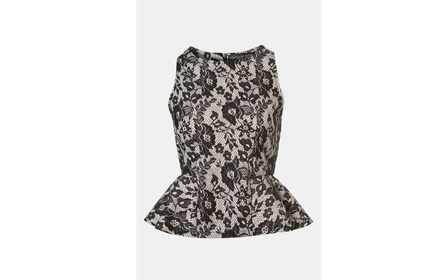 Topshop Lace Peplum Top: This black lace peplum top is both elegant and figure flattering. ($56.00; Nordstrom.com)