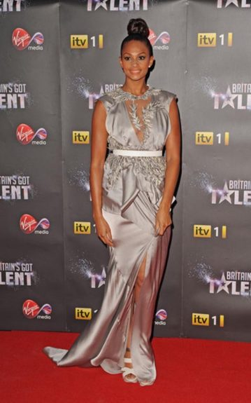 Aliesha Dixon attended the Britain's Got Talent pre-finale party in a beautiful silver metallic Julien Macdonald gown with an empire waist