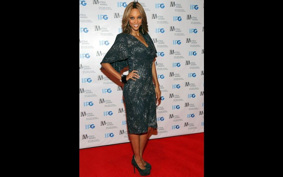 Tyra Banks in a butterfly sleeve, cowl neck dress for the Matrix Awards