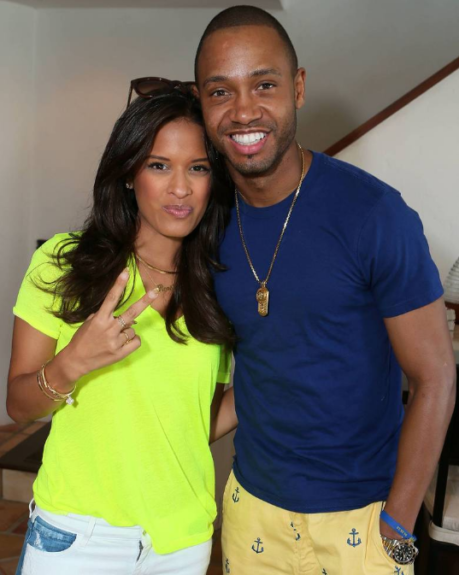 E! News co-anchor Terrence J and ET's Rocsi Diaz catching up at the Kia Motors Beach House powered by Sabra in Malibu on Sunday.