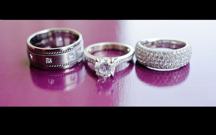 The rings sets a circle of blinged bliss for this so in love couple