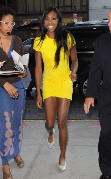 "Venus rocks a yellow Torn by Ronnyy Kobo dress, and glittery Stuart Weitzman flats, as she heads to ""CBS This Morning"""