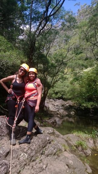 """EBONY.com Editor-at-Large goes waterfall rappelling with a friend at <a href=""""http://www.rappelmaui.com"""" target=""""_blank"""">Rappel Maui</a>"""