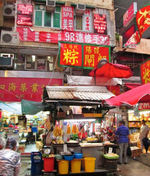 Wet market in Central business district. Locals come here daily for fresh ingredients.