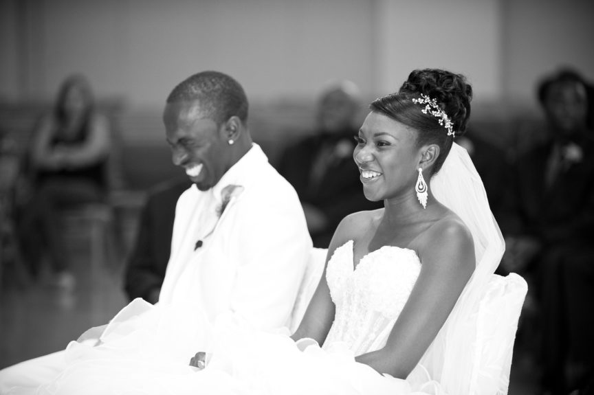 Laugh and Love: The couple shares a funny moment at their reception