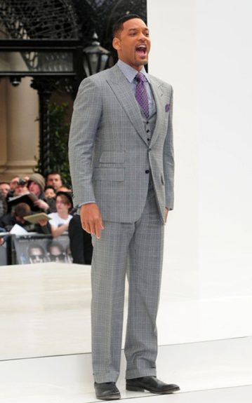 """Will Smith was 3 shades of gray for the UK Premiere of """"Men In Black III"""" in London's Leicester Square. He offset the three-piece Tom Ford suit with a checkered shirt and purple tie"""