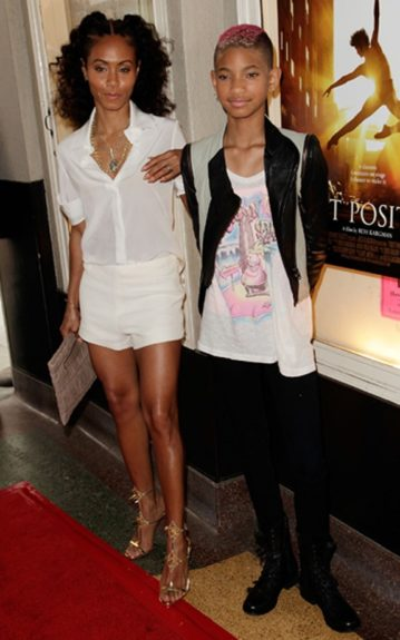"""Jada and Willow Smith are spending lots of girl time together. This time at the Sundance Selects premiere of """"First Position"""" Jada in all white and Willow in the usual funky attire- leggings, combat boots, a graphic oversized tee and a cropped colorblock jacket"""