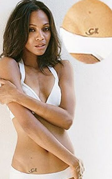 You'd never catch Zoe Saldana's hidden Arabic tattoo without her being stripped down to this. However, you'd have to ask her what it means as rumor has it, she may be the victim of a poorly translated tatt