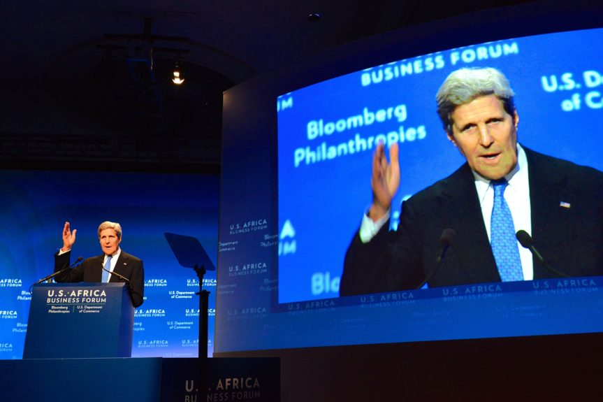"""U.S. Secretary of State John Kerry delivers remarks at the U.S-Africa Business Forum Leaders Forum Session, """"Game Plan: Shaping the Future of Fast-Growing Continent"""" (Photo: U.S. State Department)"""