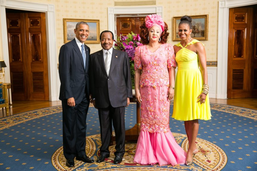 President Barack Obama and First Lady Michelle Obama greet His Excellency Paul Biya, President of the Republic of Cameroon, and Mrs. Chantal Biya (Photo: Amanda Lucidon/The White House)